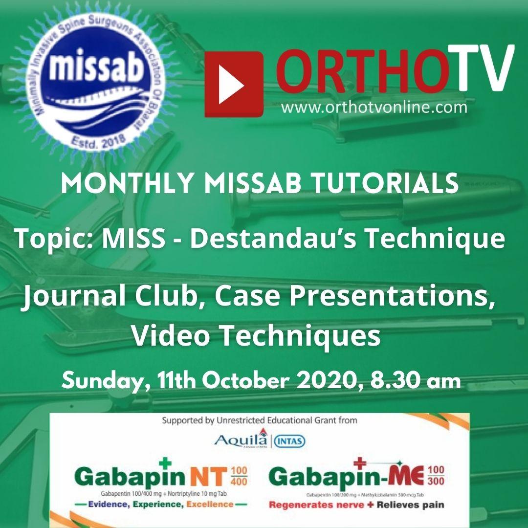 - missab 5 oct - Monthly MISSAB Tutorials – Case Discussion, Journal Club and Destandau Technique