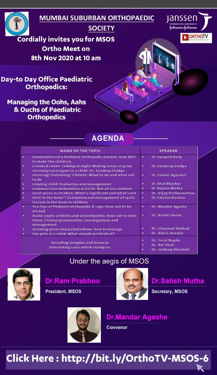 - msos 8 nov - MSOS Meeting – Office Pediatric Orthopaedics – Convener – Dr Mandar Agashe