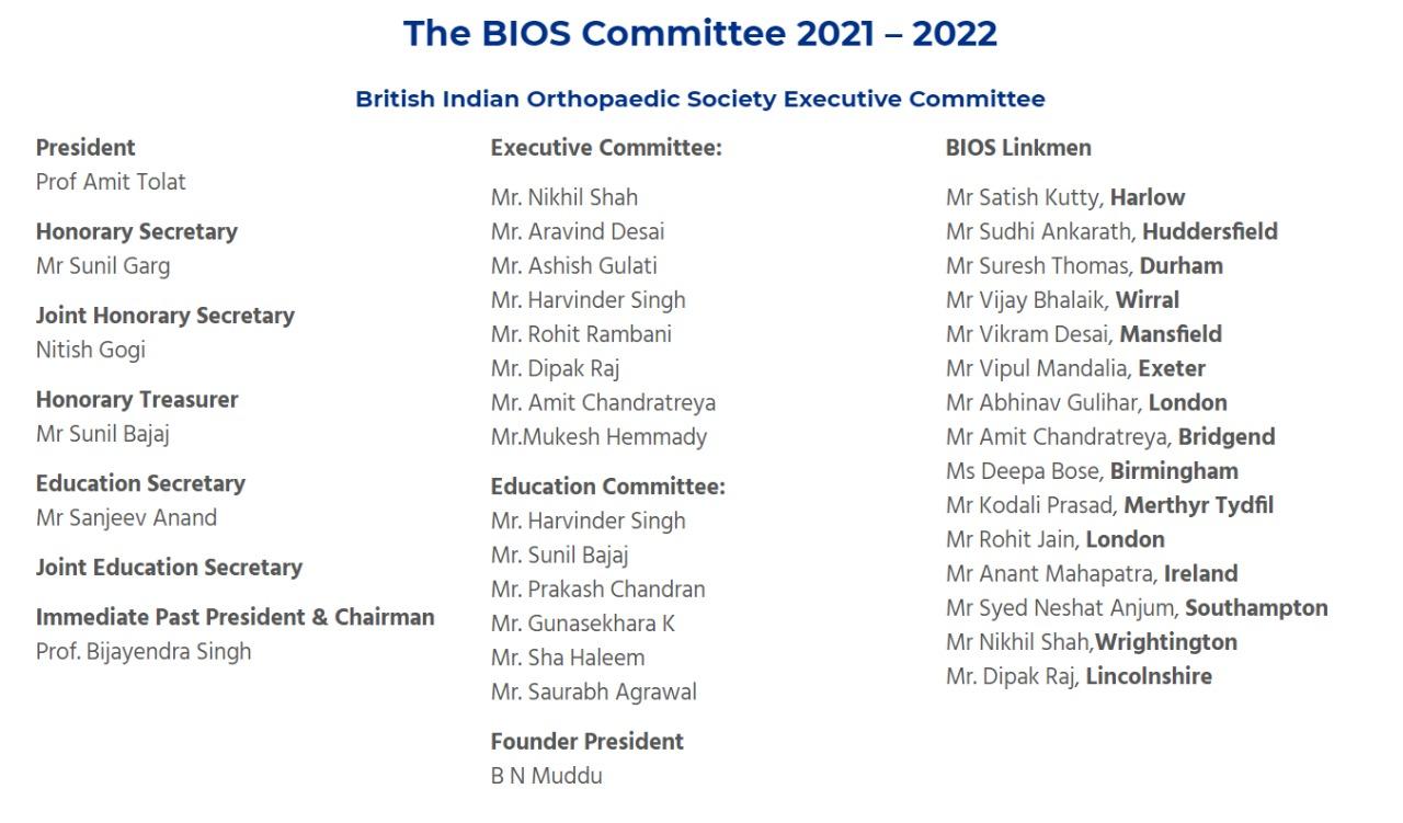 British Indian Orthopaedic Society Committee