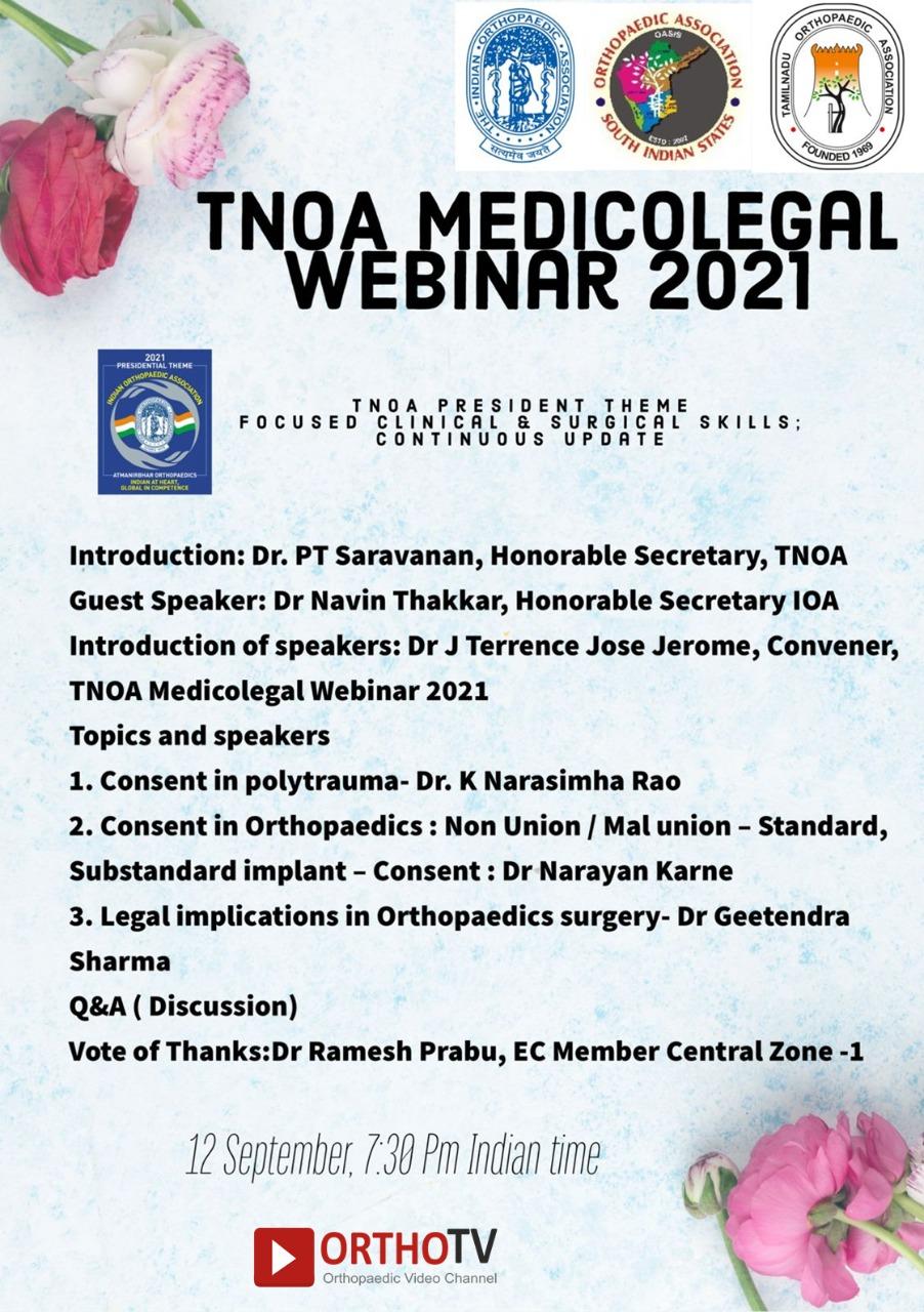 """TNOA Medicolegal Webinar """"Legal implications in Orthopedic Surgery"""""""